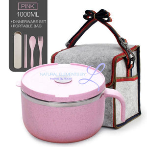 Wheat Straw Lunch To-Go Bowl Set With A Stainless Steel Inner Layer Pink