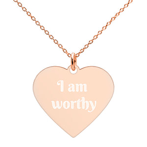 I Am Worthy Affirmation Necklace - Engraved Heart Necklace - Just JKing