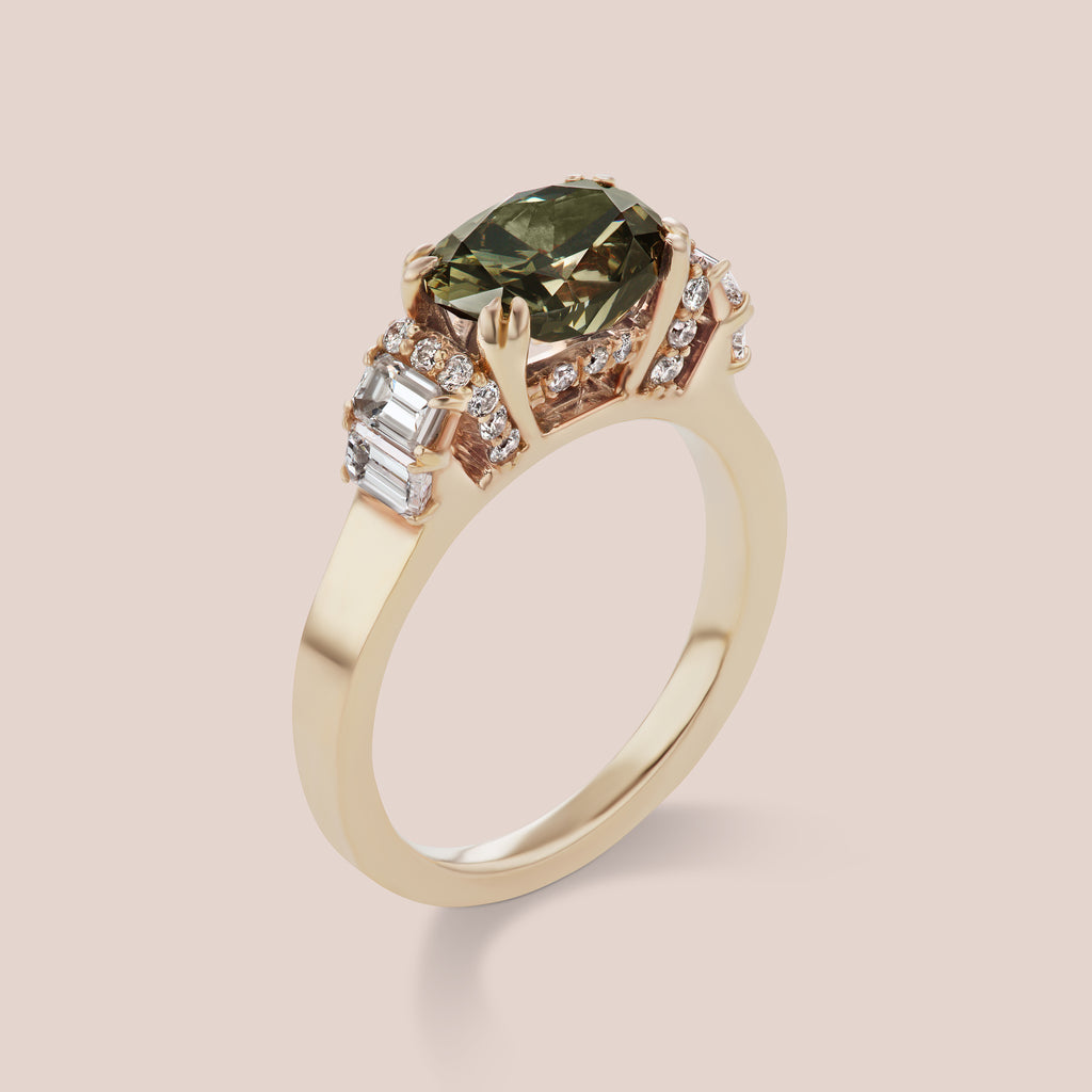 Custom Grey Diamond / Chameleon Green Diamond Engagement Ring