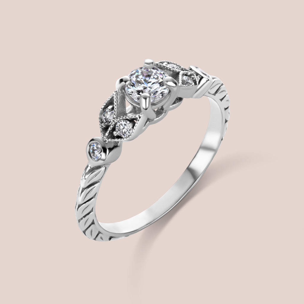Custom Vintage Inspired Floral Motif Diamond Engagement Ring