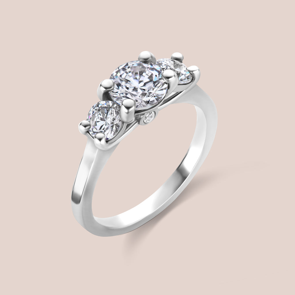 Custom Vintage Inspired 3 Stone Diamond Engagement Ring