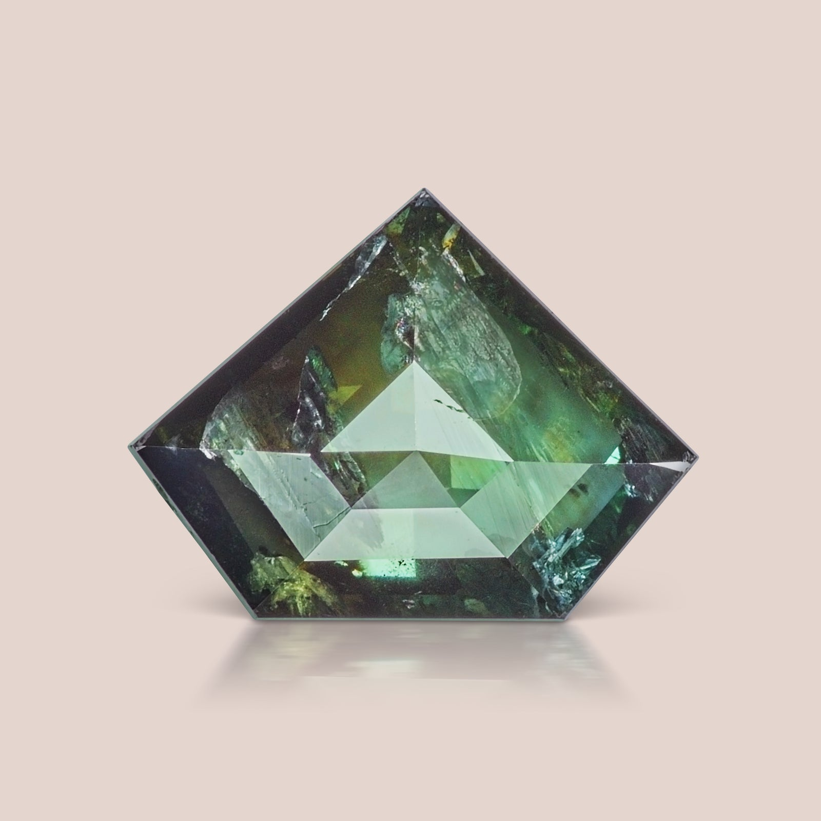 Blue-Green Shield Rosecut Diamond