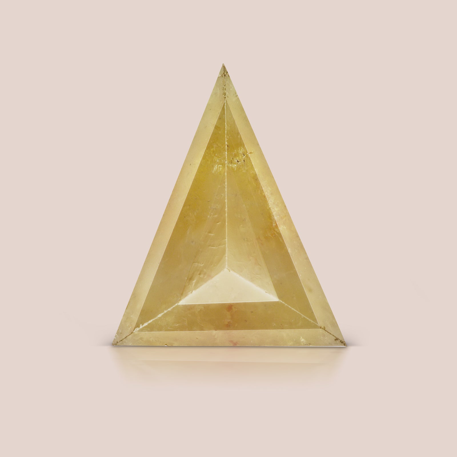 Natural Light Yellow-Orange Triangle Rosecut Diamond