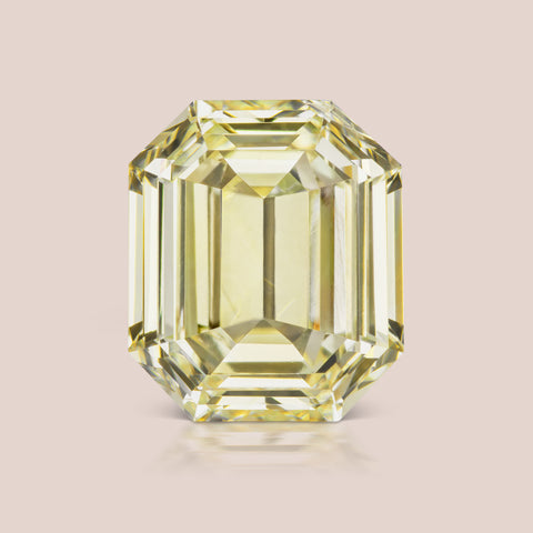 Light Yellow Octagon Emerald Cut Diamond