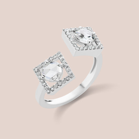 """Kirchner"" Round Rosecut in Square Diamond Ring"