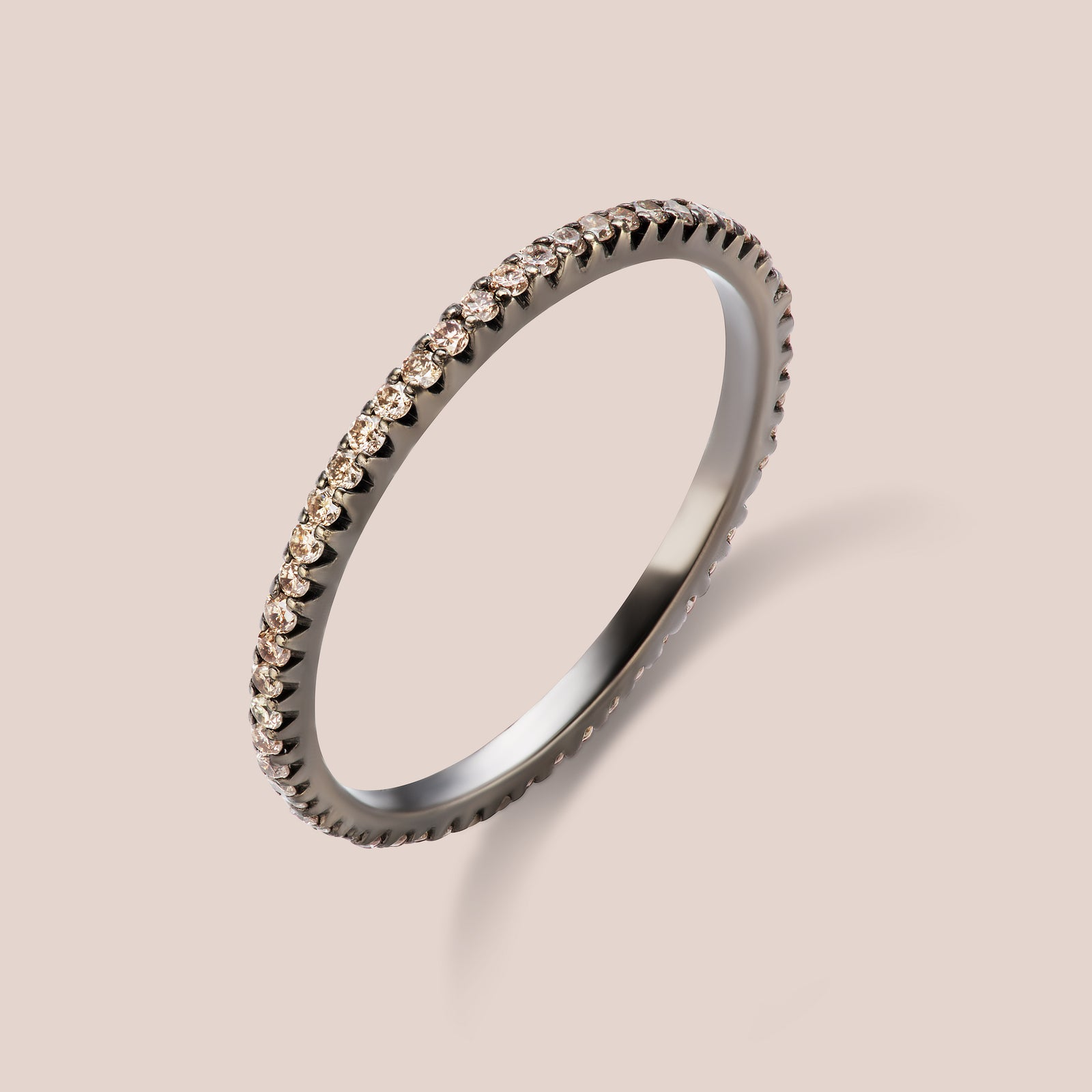 """Rothko"" Champagne Diamond Eternity Band 1.0mm Width"