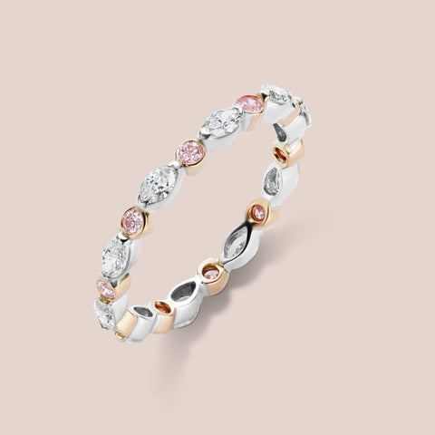 """Degas"" Vintage Inspired Pink Round Diamond and Marquis Diamond Band"
