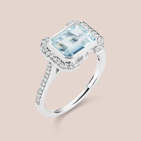 """Erte"" - Emerald Cut Topaz Engagement Ring"