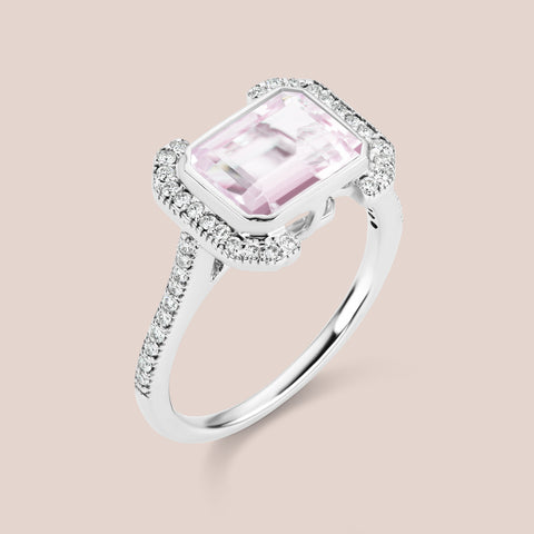 """Erte"" - Emerald Cut Morganite Engagement Ring"