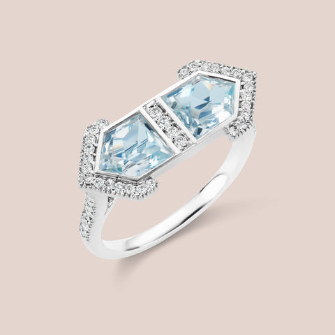 """Erte"" Pentagram Cut Aquamarine Engagement Ring"