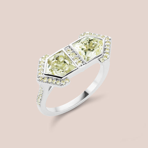 """Erte"" - Pentagram Cut Yellow Beryll Engagement Ring"