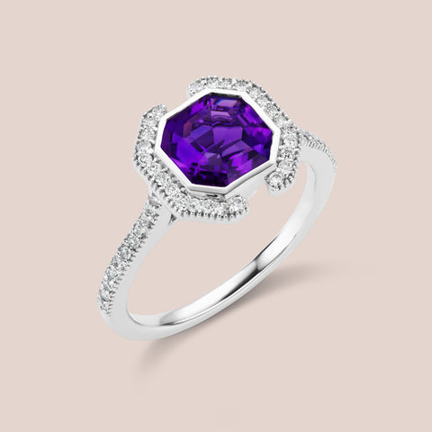 """Erte"" - Octagon Cut Amethyst Engagement Ring"