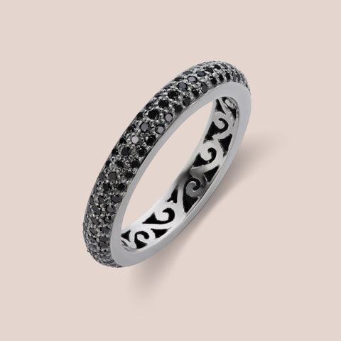 """Rothko"" Thick Pave Black Diamond Band"