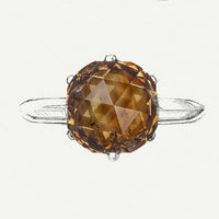 Cognac Rounded Hexagon Rosecut Diamond
