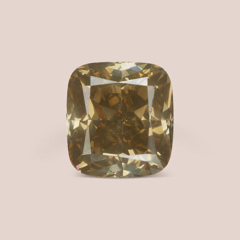Natural Yellow-Grey Cushion Cut Diamond