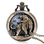 2017 New Arrival Watches Retro Bronze Chinese Zodiac Tiger Case Quartz Fob Pocket Watch with Necklace Chain Gift To Women Men