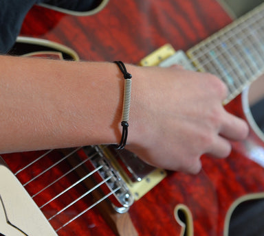 Adjustable Leather and Guitar String Bracelet - Black