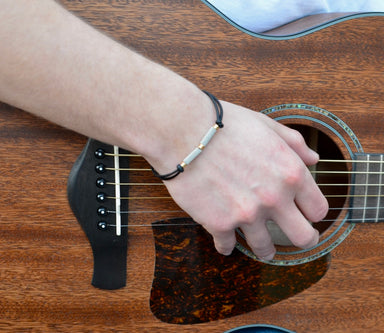 Adjustable Leather and Guitar String Bracelet - Black Ball Ends