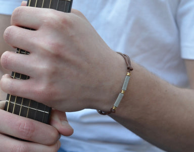 Adjustable Leather and Guitar String Bracelet - Brown Ball Ends