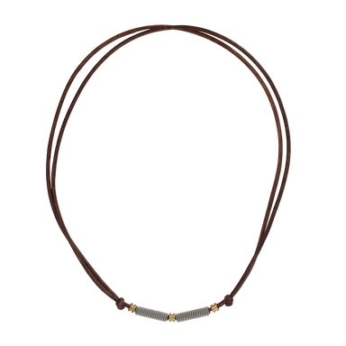 Adjustable Leather and Guitar String Necklace - Brown Ball Ends