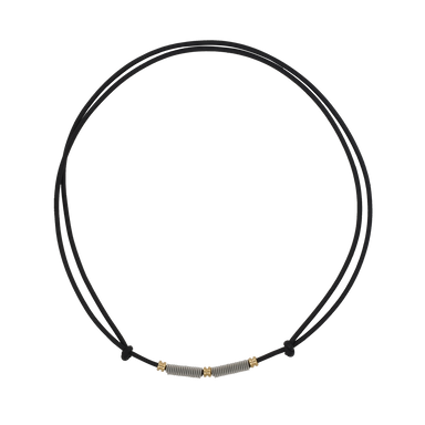 Adjustable Leather and Guitar String Necklace - Black Ball Ends