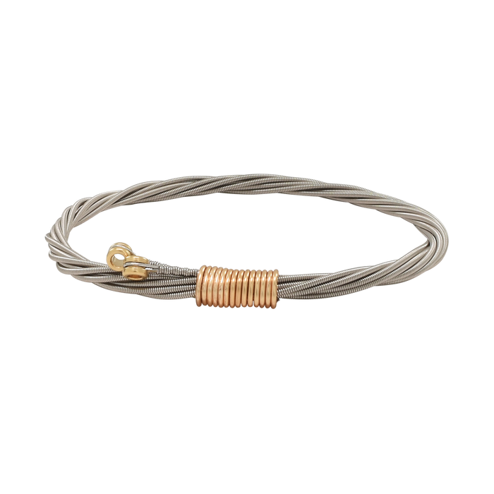 Classic guitar string bangle bracelet two-tone by high strung studios guitar string jewelry for men and women