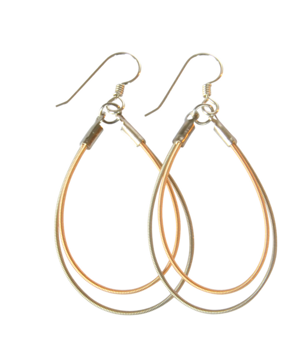 Double Teardrop Earrings - Two-Tone
