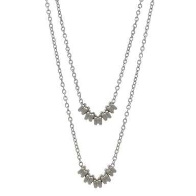 Double Layer Necklace - Silver