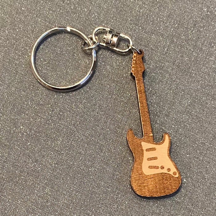 Guitar Laser Cut Wooden Key Chain