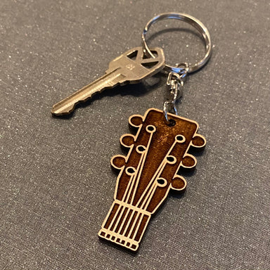 Guitar Head Laser Cut Wooden Key Chain