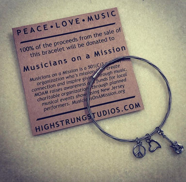Charm Bangle - Peace, Love, Music - Musicians on a Mission Donation