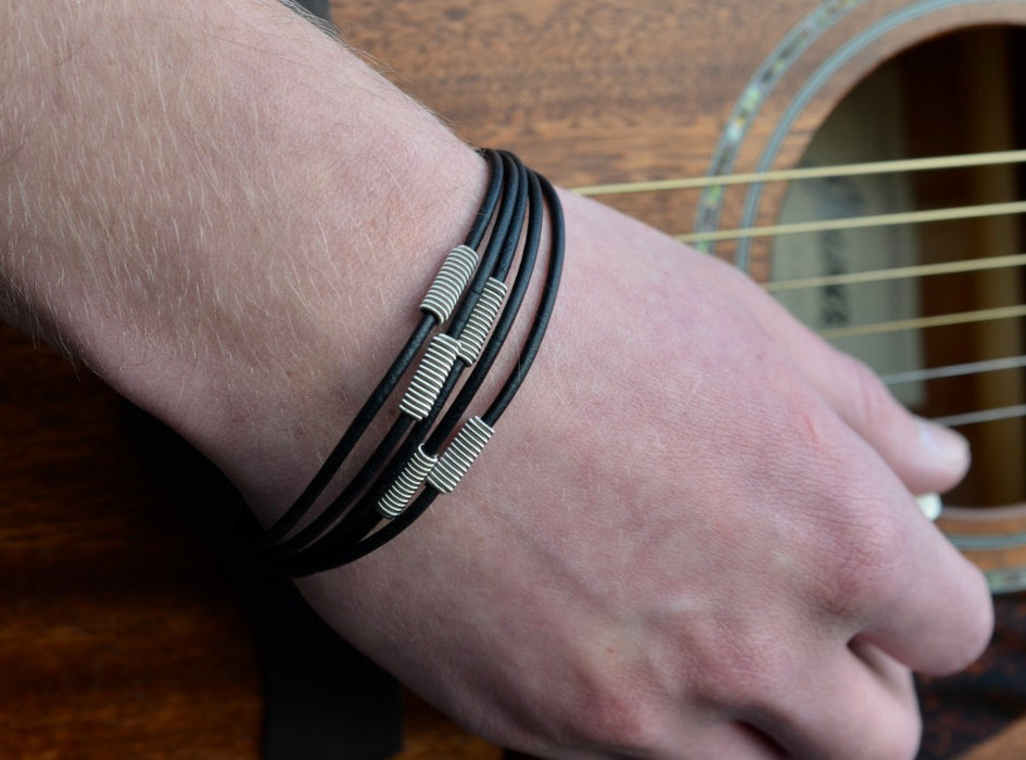 Arpeggio Leather Bracelet - Black