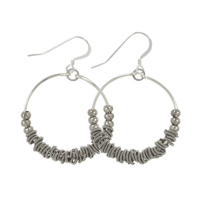 Staccato Hoop Earrings - Silver