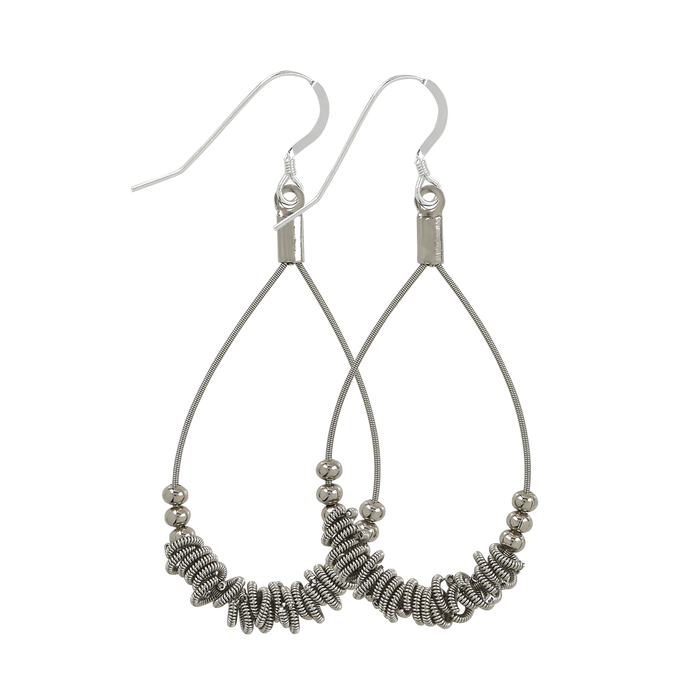 Staccato Teardrop Earrings - Silver