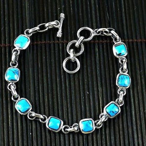 Jewelry - Handcrafted Mexican Alpaca Silver and Turquoise Cube Bracelet