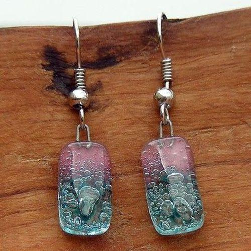 Jewelry - Pink and Blue Bubble Small Glass Earrings