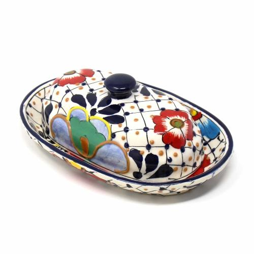 Tableware - Handmade Pottery Butter Dish, Dots & Flowers