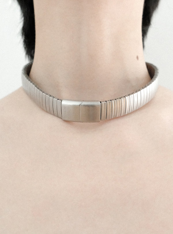 Brushed Silver Watch Link Choker