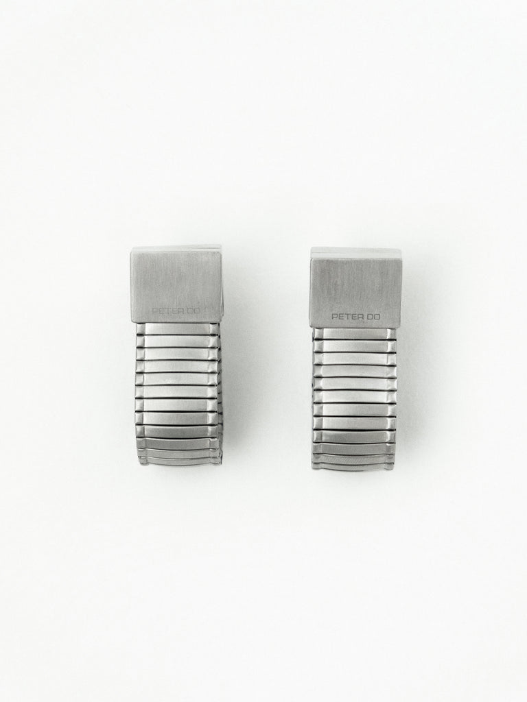 Brushed Silver Watch Link Earrings