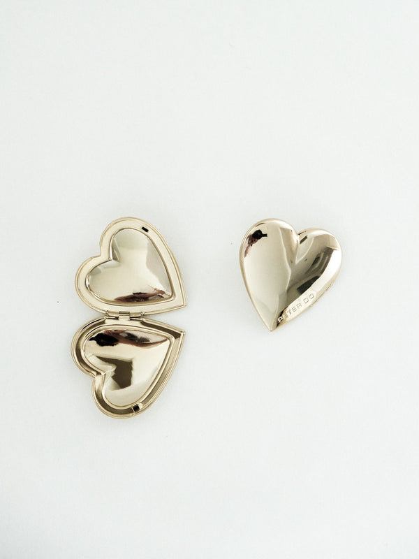 Gold Heart Locket Earrings