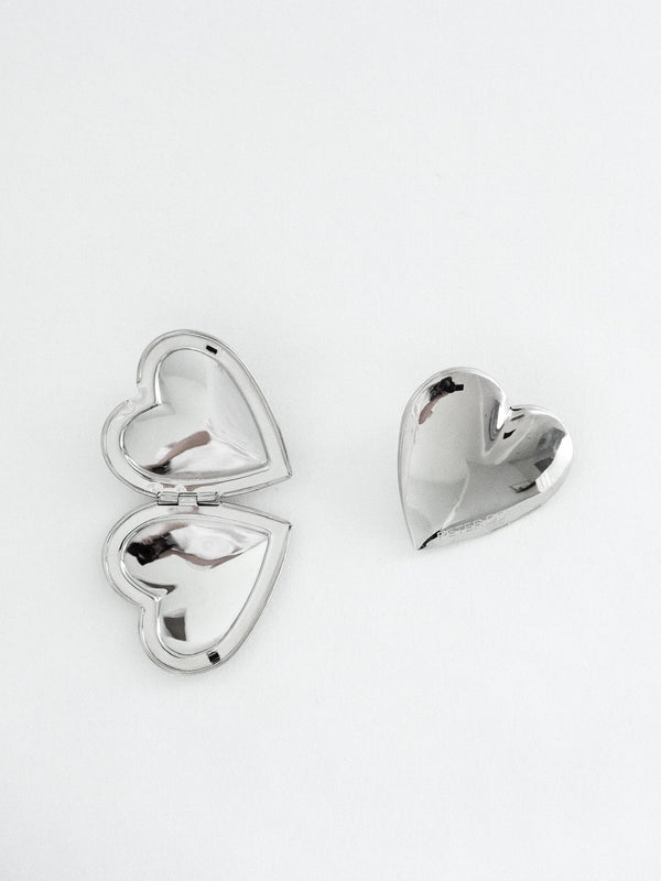 Silver Heart Locket Earrings