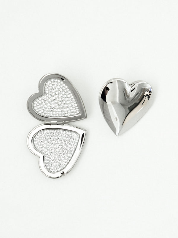 Silver Heart Locket Earrings with Swarovski Crystal