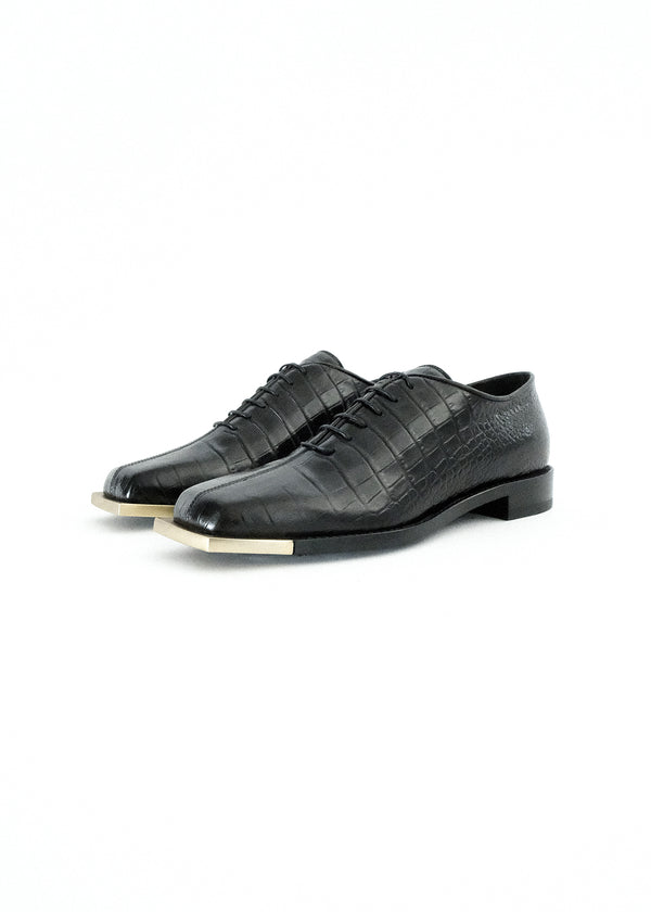 BLACK CROC SQUARE TOE OXFORD WITH METAL GOLD TIP