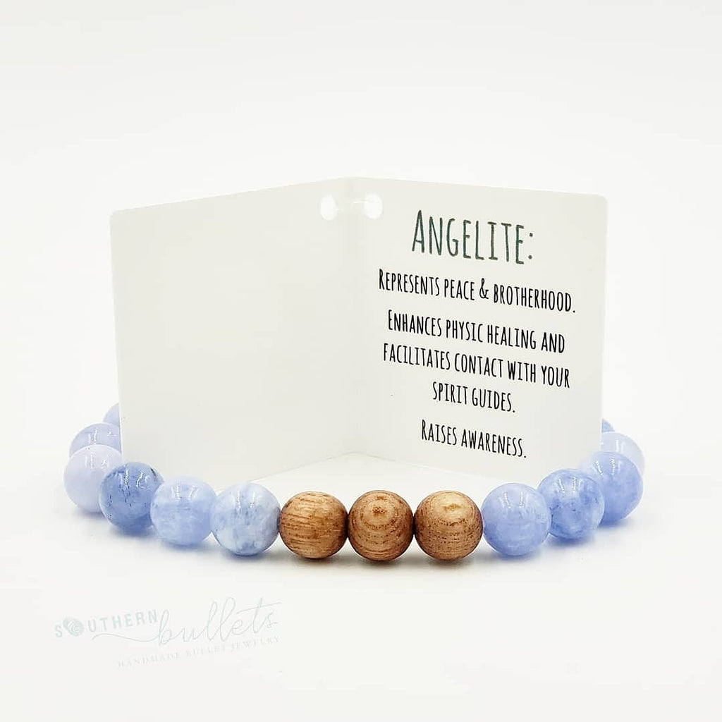 Angelite Stone & Rose Wood Bracelet
