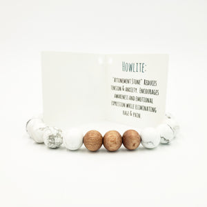 Howlite & Rose Wood Bracelet