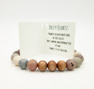 Druzy Quartz & Rose Wood Bracelet
