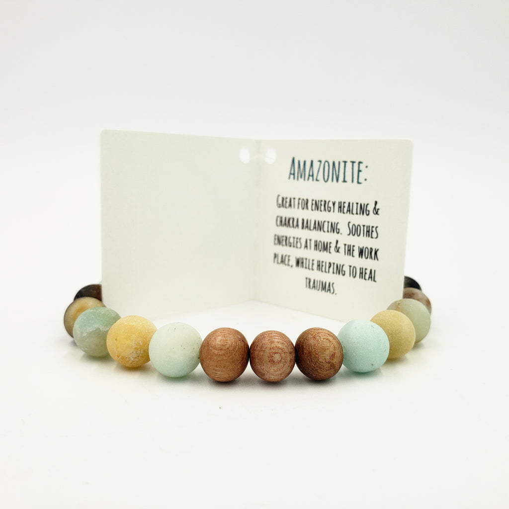 Amazonite & Rose Wood Bracelet