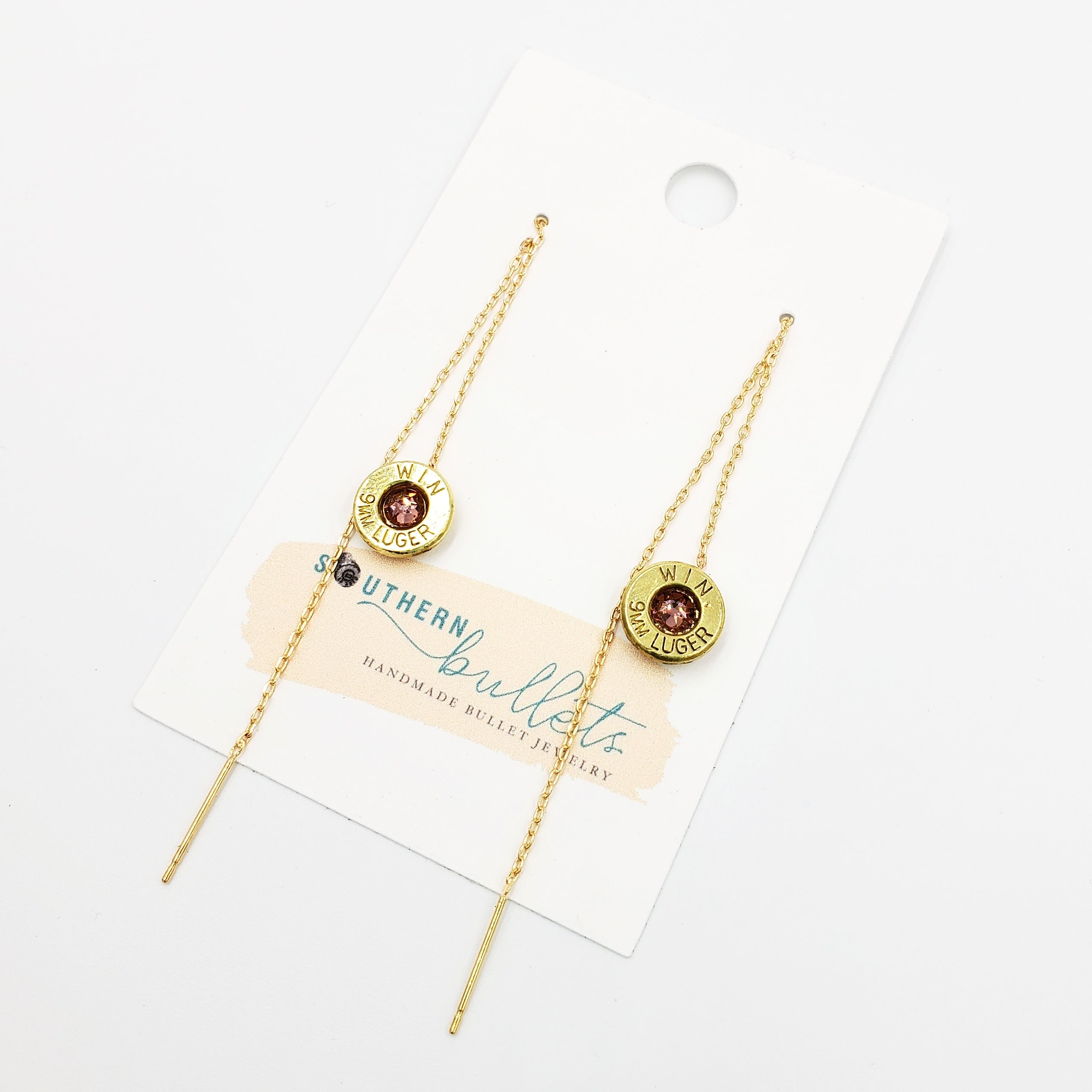 Gold Threaded Bullet Earrings
