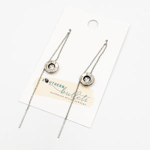Silver Threaded Brass Earrings