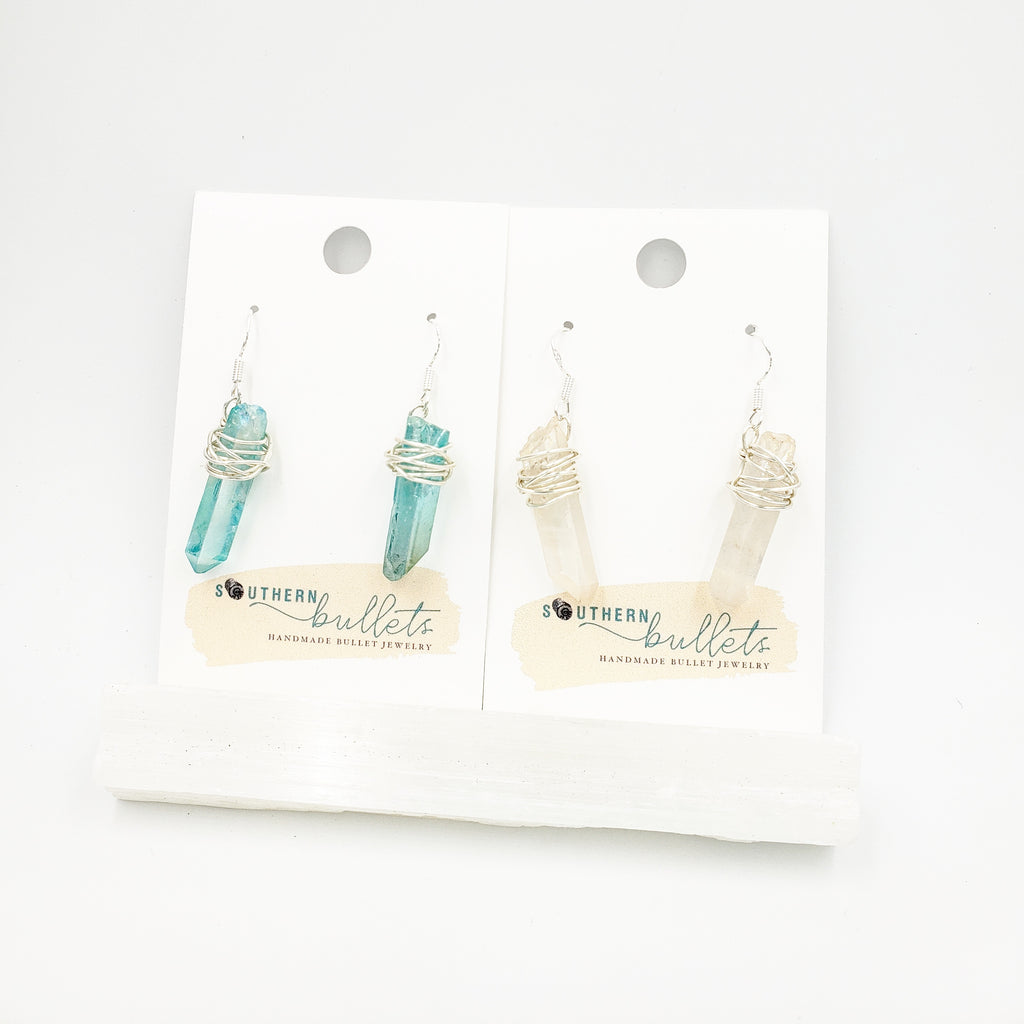 Moon Charged Wire Wrapped Crystal Earrings